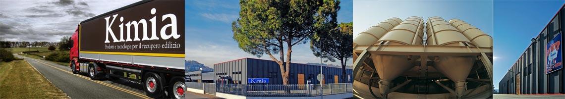 Stabilimento, silos e camion Kimia