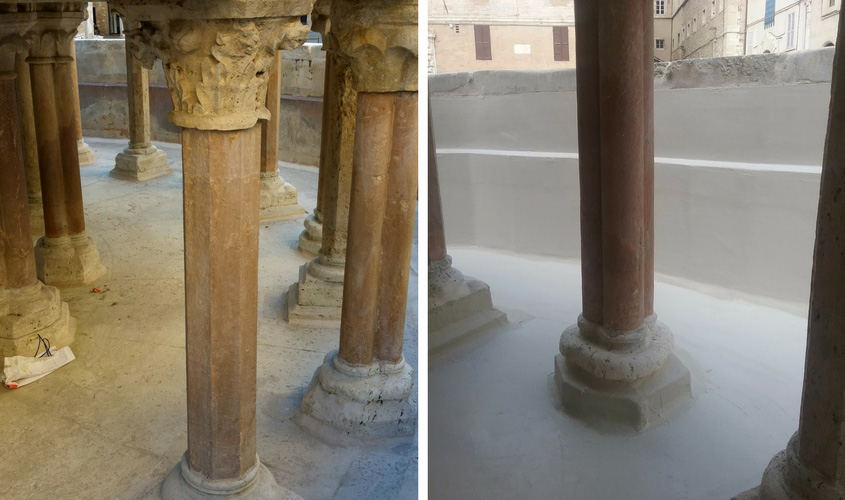 Lower basin: before and after waterproofing