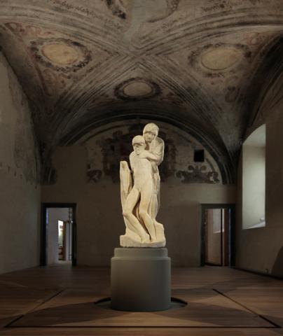 Pietà Rondanini, ancoraggio della scultura al basamento antisismico